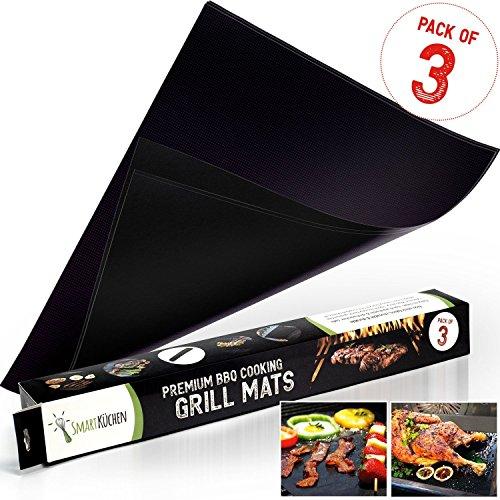 Tapis de cuisson de qualité barbecue - ensemble de 3 tapis (40 cm x 33 cm) - facile à nettoyer, antiadhésif - résistant aux températures élevées