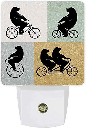 Oso de bicicleta - Paquete de 2 luces de noche decorativas que se conectan a la pared,lámpara LED con sensor de anochecer a amanecer para habitación de niños,luz nocturna con patrón retro de mujer af