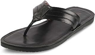 tresmode 213-FLAMINO Black Leather FLIP Flops for Men