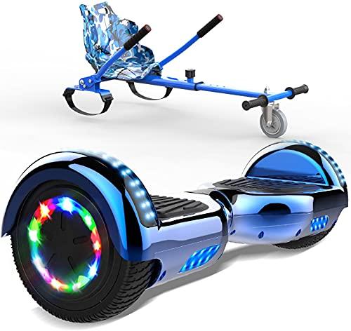 SOUTHERN WOLF Hoverboards Go Kart, Scooter Électrique Auto-équilibré, Lumières LED Colorées Intégrées Et Bluetooth, Hoverboards Motorisés 2x350W, avec Siège De Kart pour Enfants Et Adolescents