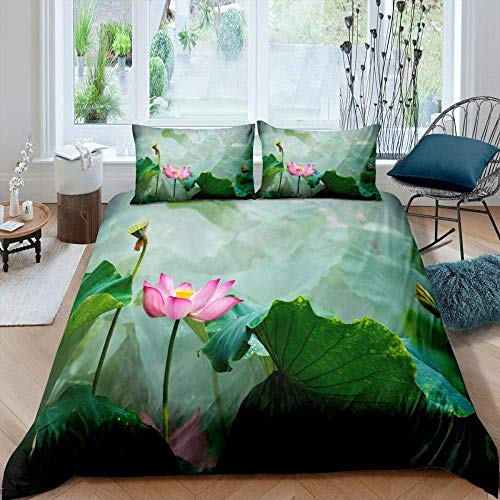 Damqskd 3D Printed Duvet Cover With 2 Pillowcases Floral Plant Pink Lotus Summer Theme - King (220 X 230 Cm) - Bedding Set With Zipper Closure Hypoallergenic Soft Microfiber Quilt Cover Set Double