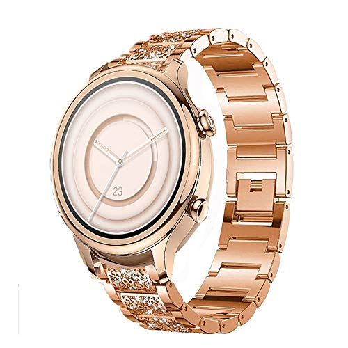 LvBu Armband Kompatibel für TICWATCH C2+, Damen Metall Band Premium Edelstahl Bracelet Gurt für TICWATCH C2 + Smartwatch (Roségold)