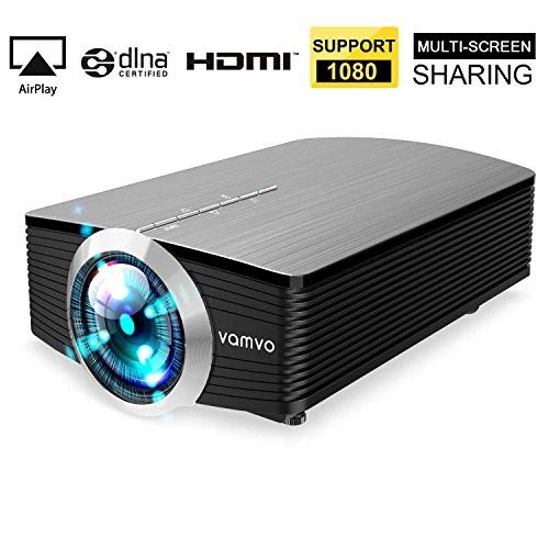 Smartphone Projector Vamvo Mini Portable Video Projector 1080P Support 1800 lumens 130' Screen USB/AV/SD/HDMI/VGA Input