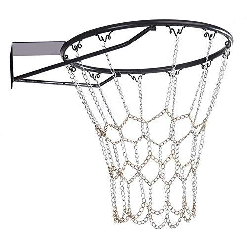 TXYFYP Resistente Galvanizado Acero Cadena Baloncesto Nueva, Interioriores y Exterior Deporte Artículos Canasta de Baloncesto - Negro+Plata, Free Size