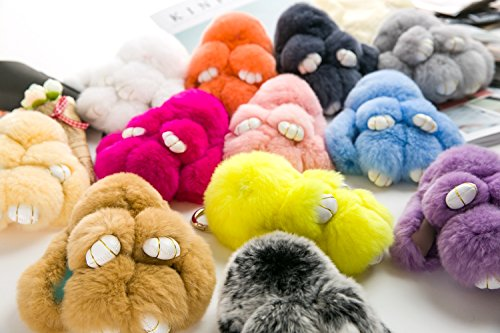 YISEVEN Stuffed Bunny Keychain Toy - Soft Fuzzy Large Stitch Plush Rabbit Fur Key Chain - Cute Fluffy Bunnies Floppy Furry Animal Easter Basket Stuffers Gifts Women Bag Charm Car Pendant - Rubine