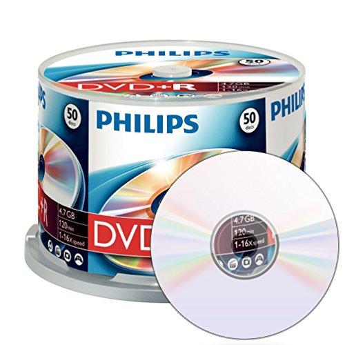 Philips DVD+R Rohlinge (4.7 GB Data/ 120 Minuten Video, 16x High Speed Aufnahme, 50er Spindel)