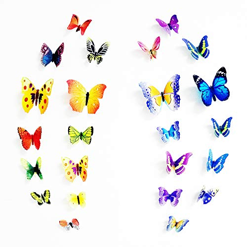 PARLAIM 3D Butterfly Wall Stickers Wall Decals 102PCS, DIY Art Home Decals for Bedroom, Living Room, Classroom