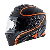 Torc T2815VP224 Full Face Modular Helmet (Flat Black, Vapor Orange, L)