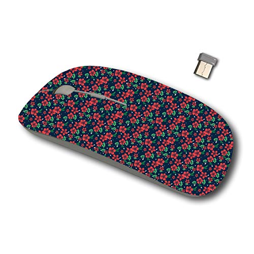 Joan 2.4G Wireless Mouse for Laptop, Ergonomic Computer Mouse with USB Receiver for Windows Mac PC Notebook (Christmas Floral Unique Decoration)