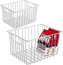 Slideep Refrigerator Freezer Storage Organizer Basket, Deep Wire Household Bins Container with Handles for Kitchen, Pantry, Freezer, Cabinet, Car, Bathroom - Pearl White, Set of 2