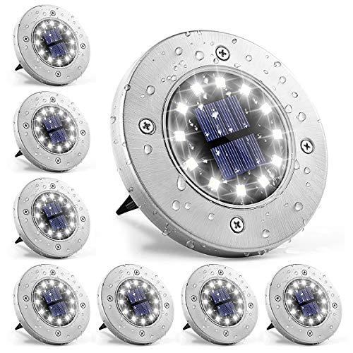 GIGALUMI Solar Bodenleuchte 12 LEDs 8 Stück Solarleuchten Weiß Gartenleuchten Edelstahl Wasserdicht für außen, Garten, Terrasse, Rasen, Hof, Gehweg