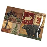 AWWMQ Rustic Lodge Bear Moose Deer Table Mats Set of 6 Washable Heat Insulation Non-Slip Placemat for Dining Table Mats 12x18 Inch