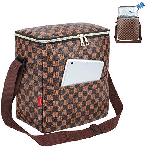 Lunch Bag, 11L Leakproof Insulated Lunch Box with Thermal Liner and Waterproof Reusable Lunch Bag for Women and men, Lunch Cooler with Adjustable Shoulder Strap College Picnic Beach Work(Black)