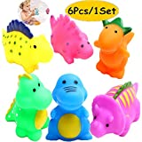 HUAERYOUYUE Bathtub Toys Dinosaur Baby Bath Toys Christmas Kids Fun Squirt Toys Floating Bathroom Toys Assorted Colors 6PCS