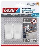 Tesa 77780 Leinwand Tapete & Putz Klebehaken Tapeten & Putz-Selbstklebender ideal zur Befestigung von Girlanden & Lichterketten-hält bis zu 0,5kg/Haken-spurlos ablösbar, weiß