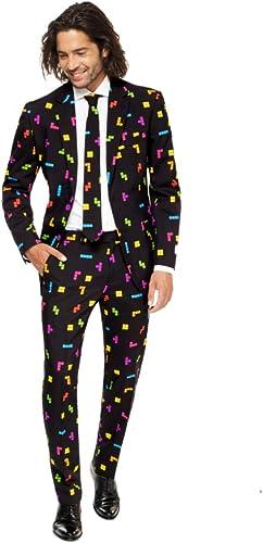 OppoSuits Abschlussball kostüme für Herren - Mit Jackett, Hose und Krawatte mit Festlichen Print, TETRIS, 48