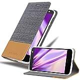 Cadorabo Hülle für Motorola Moto Z Play in HELL GRAU BRAUN - Handyhülle mit Magnetverschluss, Standfunktion & Kartenfach - Hülle Cover Schutzhülle Etui Tasche Book Klapp Style