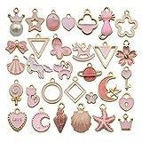 YoudiylaUK WM347 - Abalorio para bisutería, collar, pulsera, pendientes de tobillo, chapado en oro rosa con esmalte variado, 60 unidades