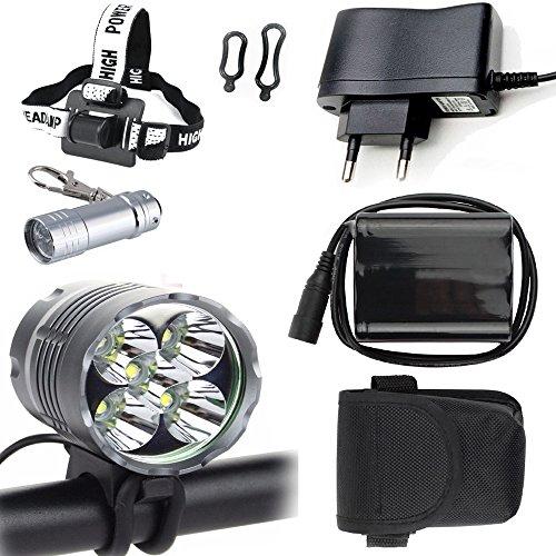 LED Luz Linterna LáMPARA TORCH 5x CREE XM-L T6 /CREE 5X 6000 lúmenes LED de bicicleta /bici lámpara Luz LED frontal para manillar de bicicleta bicicletas (5 focos, 3 modos) con batería