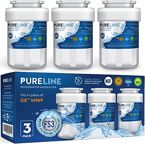 Pureline MWF Water Filter Replacement. Compatible with GE MWF, MWFP, MWFA, MWFAP, MWFINT, GWF, GWFA, HWF, HWFA, HDX FMG-1, Smartwater, WFC1201, GSE25GSHECSS, 197D6321P006 (3 Pack)