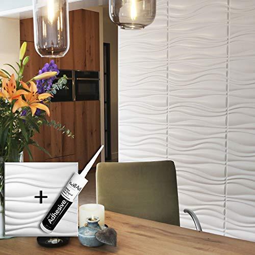 Panel de pared 3D para decoración de pared + Pegamento Paneles 3D I 12 Paneles Decorativos 3m2 WallArt I Papel Pintado 3D Pared 3D (02 - Panel de pared 3D Waves)