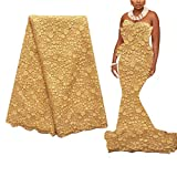 WorthSJLH 5 Yards African Lace Fabric Gold Nigerian French Lace Fabric Bridal Guipure Cord Lace Fabric for Party LF827(Gold)