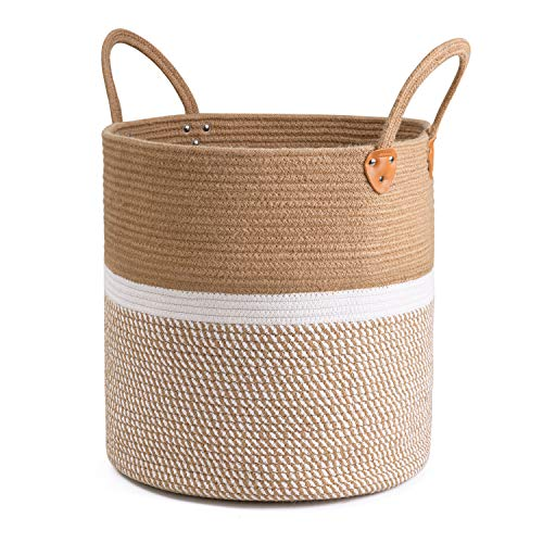 CHICVITA Extra Large Jute Basket Woven Storage Basket with Handles - Natural Laundry Basket Toy Towels Blanket Basket Home Decor Gift, 16' x 16', White
