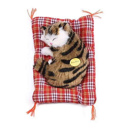Dilwe Juguete de Gato Relleno de simulación, 4 Tipos de simulación de Felpa Gato de Peluche de Juguete de Sonido decoración del hogar, Regalo para niños(Negro + marrón)