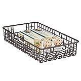 mDesign Household Metal Wire Cabinet Organizer Storage Organizer Bins Baskets trays - for Kitchen Pantry Pantry Fridge, Closets, Garage Laundry Bathroom - 16' x 9' x 3' - Bronze