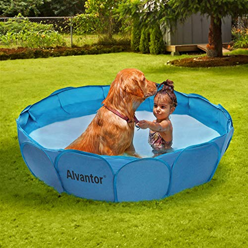 Alvantor Pet Swimming Pool Dog Bathing Tub Kiddie Pools Cat Puppy Shower Spa Foldable Portable Indoor Outdoor Pond Ball Pit Patent Pending