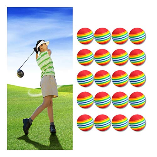 Best Deals! Jeeke 20Pcs/Pack Rainbow Stripe Foam Sponge Golf Balls Swing Practice Training Sports Ba...