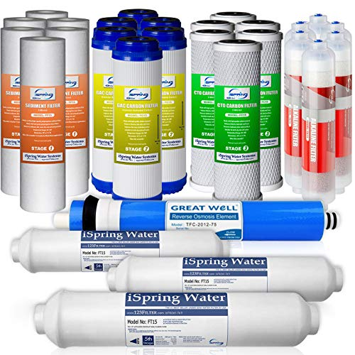 iSpring F28K75 3-Year Replacement Supply Set for 6-Stage Reverse Osmosis RO Water Filtration Systems with Alkaline Mineral Filter, White