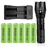 Best 18650 Batteries - LED 18650 Flashlights Set with Six 2500mAh Rechargeable Review