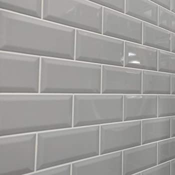 Metro Ceramic Kitchen Bathroom Wall Tiles Bevelled Edge Brick Effect 44 Tiles Gloss Finish 100mm X 200mm Light Grey Amazon Co Uk Diy Tools