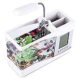 OPEN BUY Mini Acuario pecera con Bomba de Agua y luz, Despertador, Calendario, Reloj Color Blanco
