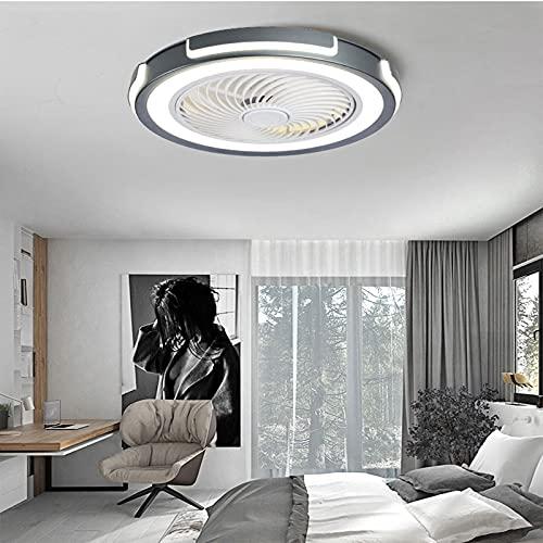 HHGM Ventilador De Techo con Iluminación LED Luz Moderna LED Ventilador de Techo Luz del Ventilador Invisible Plafon con Iluminación Ventilador Techo con Luz y Mando a Distancia Iluminacion Led,Gris