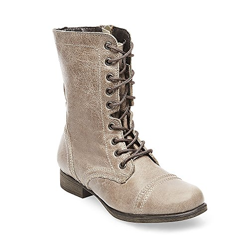 Steve Madden Women's Troopa Lace-Up Boot, Stone, 10 M US