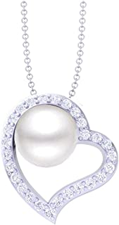 Clara 92.5 Sterling Silver Heart Shape Real Pearl Pendant with Chain Gift for Women and Girls