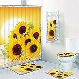 Duschvorhang-Sets mit Sonnenblumen, mit Vorleger & Handtüchern, inklusive rutschfester Teppich, WC-Deckelbezug, Badematte & 12 Haken, Blume im Sonnenuntergang, Duschvorhang, wasserdicht, 5 Stück