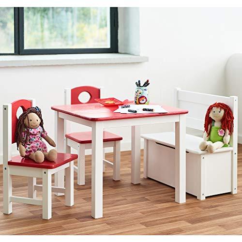 Diluma Kindersitzgruppe Rosa - 4-teiliges Kindermöbel Set: 1 Tisch, 2 Stühle und Truhenbank - Top Möbel-Qualität aus Kiefer Massivholz - Kindertisch Kinderstühle Kindertruhe für Jungen und Mädchen