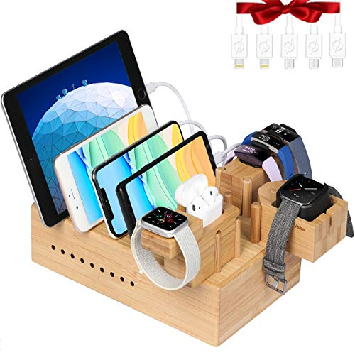 Bamboo USB Charging Station for Multiple Devices with iWatch & Airpod Charger Stand and Fitbit Family Charger Stand | Fast Charge Docking Station & Organizer with 7 USB Ports for iPad, Fitness Tracker