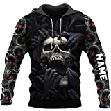 Red Eyes Screaming Skull Personalized All Over Printed 3D Hoodie, Zip Hoodie, Sweatshirt