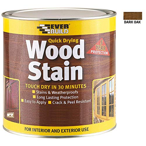 Everbuild Quick Drying Professional Solvent Free Satin Finish Wood Stain, Dark Oak, 750 ml