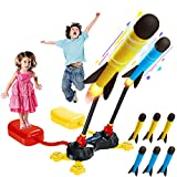 IFLYOOY Toy Rocket Launcher for Kids, Shoots Up to 100 Feet with 6 Colorful Foam Rockets and Double Sturdy Launcher Stand with Foot Launch Pad, Fun Gift Toys for 3 4 5 6+ Year Old Boys and Girls