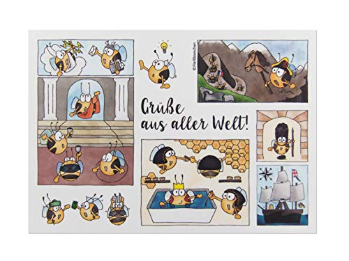 5x Postkarte »Grüße aus aller Welt« • Süße Fleißbienchen-Collage mit antiken Griechen und Ägyptern, Frankreich, Großbritannien/England, Seefahrt • Urlaubsgrüße, Urlaubspostkarte
