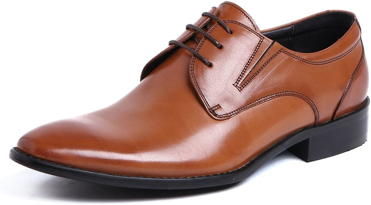UNbox Men's Pointed Cap-Toe Leather Casual Dress Oxford