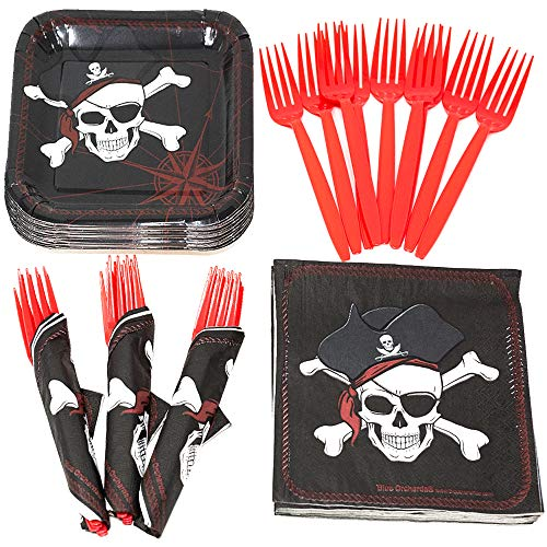 Pirate Value Party Supplies Pack (58+ Pieces for 16 Guests), Kids Halloween Party, Value Party Kit, Pirate Party Plates, Pirate Birthday, Napkins, Forks, Tableware