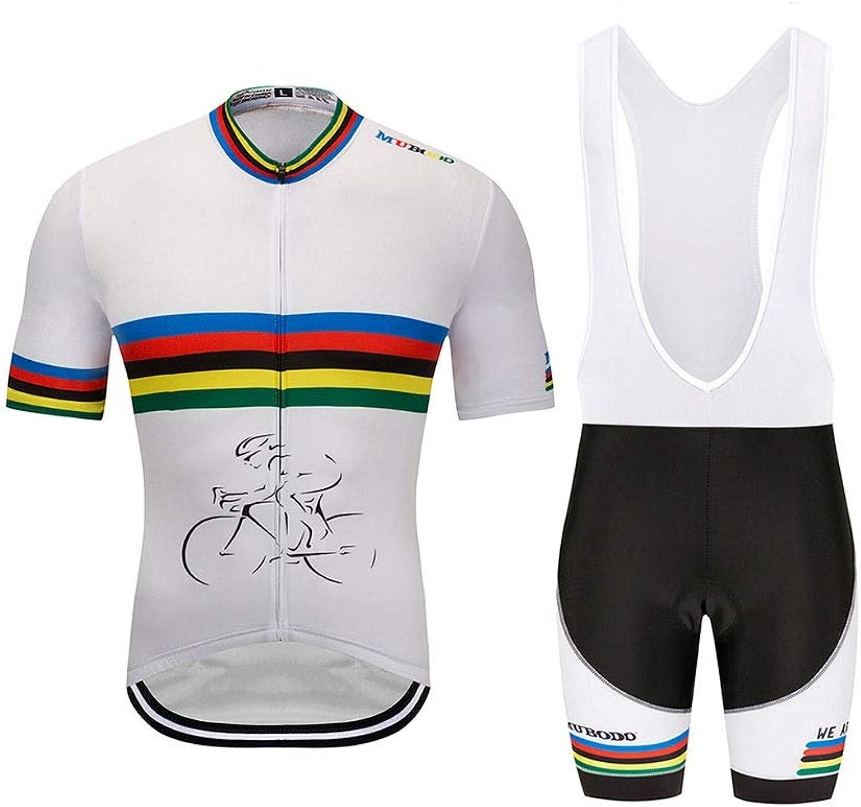 ZHAO YING Herren Kurzarm Atmungsaktiv Radtrikot 3D Gepolsterte Shorts Sportswear Anzug Set Atmungsaktiv Schnell Trocknend