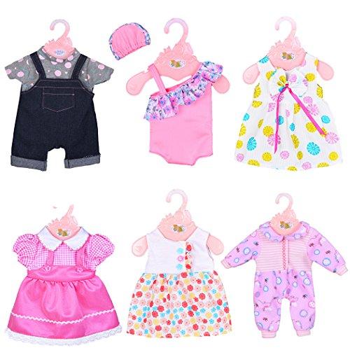 ebuddy 6 Sätze Puppenkleidung inklusive Kleid, Outfit, Strampler und Hut für 43cm / 17 Zoll Neugeborene Babypuppen