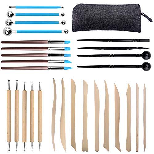 Aokyom 28 Modellierwerkzeug Set,Clay Werkzeuge Set, Keramik Werkzeug Set, Sculpting Werkzeug mit Aufbewahrungstasche Töpfer Werkzeug Sculpting Tools Clay für Kunsthandwerk,Skulptur,Profis und Anfänger
